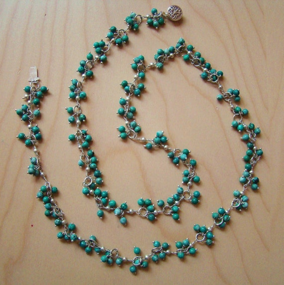 Ooak Turquoise Necklace. Wire Wrapped Jewelry. Sterling silver. December birthstone