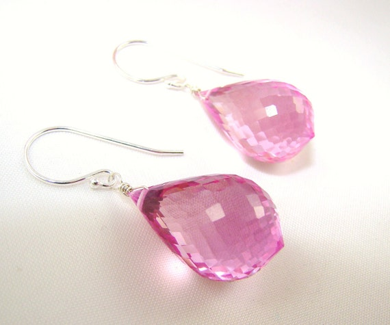 Pink Topaz Stone Sterling Silver Earrings