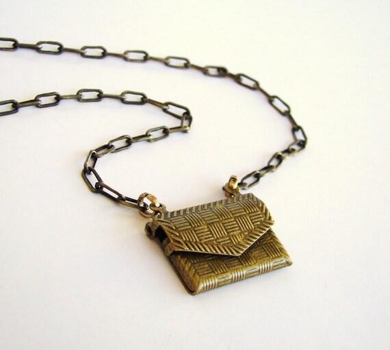 Sale Antiqued Gold Envelope Locket Necklace