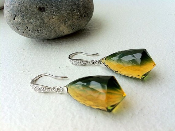 Unique Green Yellow Ametrine Sterling Earrings