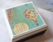 Hot Air Balloon Wood Square Box Tame Me Away Romantic Getaway Hot Air Balloon Themed Wedding Nursery Room decor