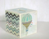 Bank - Pastel Skies Wood Bank - Hot Air Balloon And Purple Ikat Design