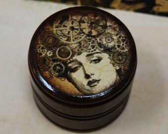 Mechanical Mind Steampunk, Powder Box, Wooden Box, trinket box, Wood Container, Treasure Box, Wooden Keepsake, Sepia, Storage, Sprockets