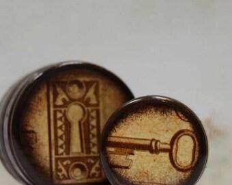 Lock and Key Pill Box Set, Wedding Box, Wedding Ring Set, Engagement Ring Set, Hardwood, Handmade, Vintage Style