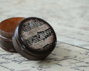 Sheet Music Pill Box Black and White