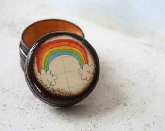 Color Me Rainbow Pill Box - Stocking Stuffers Rainbow bright Wood Pill Box Rainbows And Clouds Kids room decor