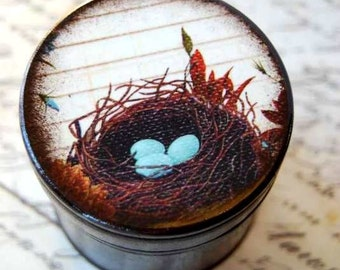 Sweet Blessing - Robins Eggs and Nest Wood Box