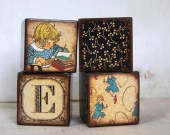 Personalized Large Building Blocks - Set Of 4