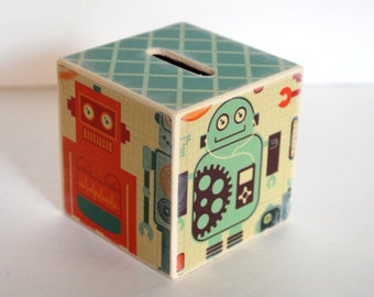 Piggy Bank Robot Wood Bank Kids Money Banks Coin Bank Robot Themed Boys Room Robot Room Decor Nursery