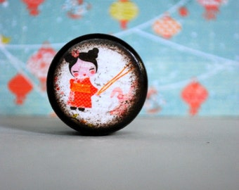 Kawaii Pill box / Chinese lantern / Powder Box / Storage Box / Jewelry Box / Coin Box / Wooden Boxes / Asian / Wood Boxes / Handmade