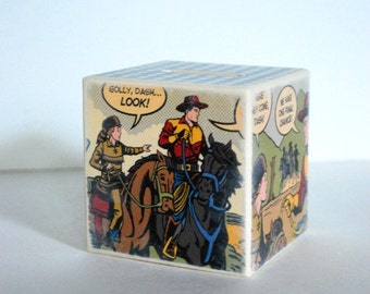 Cowboy Comic Wood Bank