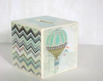 Bank - Pastel Skies Wood Bank - Hot Air Balloon And Purple Ikat Design