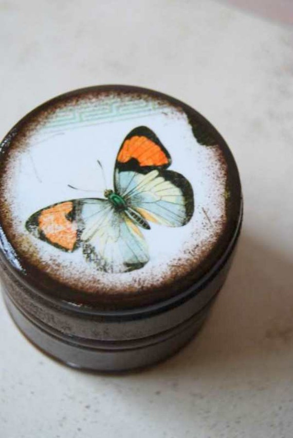 Tangerine and Blue Butterfly Powder Box