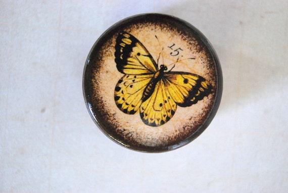 Yellow Butterfly Powder Box