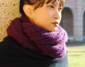 Purple Wool Chunky Infinity Muffler