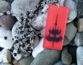 Hand Beaded Gothic Style OOAK Necklace with Red Resin Chandelier Pendant