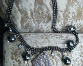 The Raven Metal Clay, Hematite and Rhinestone OOAK Gothic Style Choker Necklace