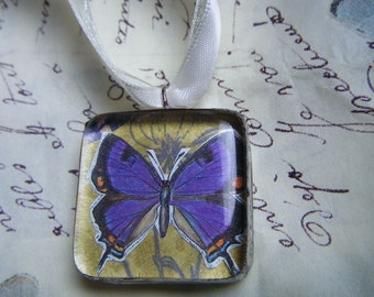 Purple Butterfly Under Glass Hand Soldered Pendant