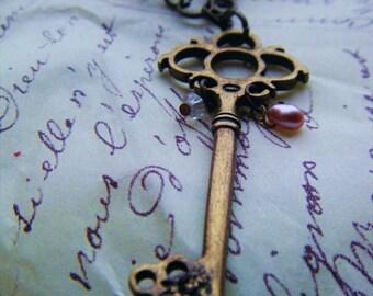 Bejeweled Gothic Style Key Necklace