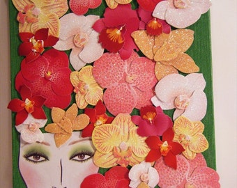 Bloom an Original OOAK 6 by 8 inch Mixed Media Collage