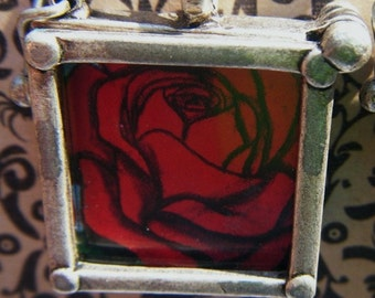 La Rosa Loteria Silver and Glass Framed Earrings