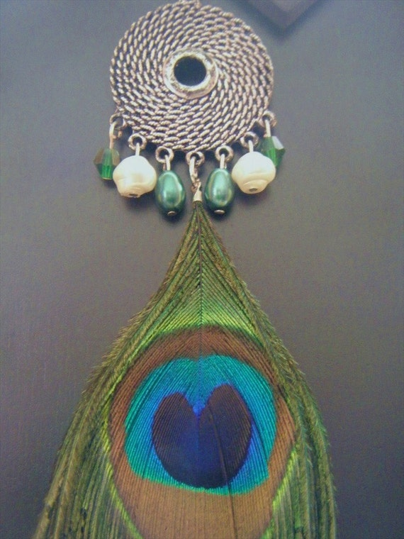 Hand Beaded Bohemian Peacock Feather Necklace OOAK
