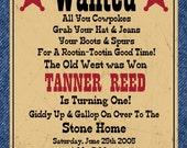 Western Cowboy Digital Birthday Invitation