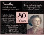 50th, 60th, 70th, 80th, 90th Birthday Photo Digital Invitation