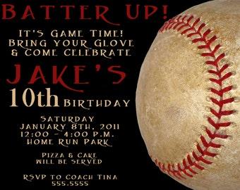 Black & Red Baseball Digital Birthday Invitation