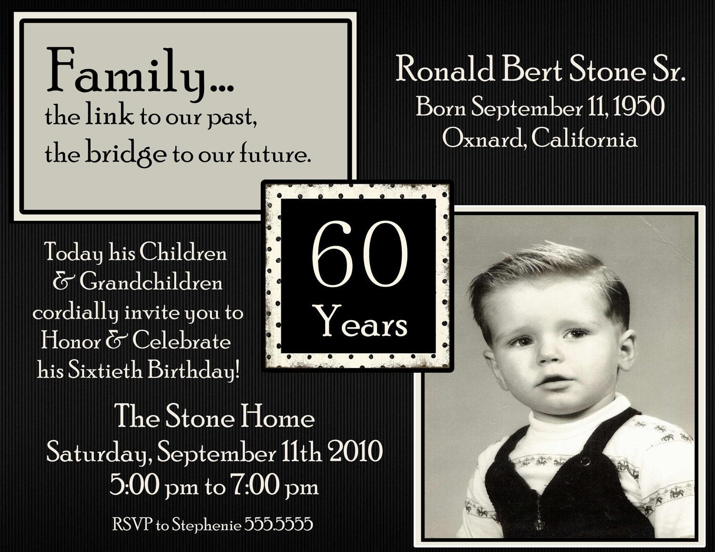 50th 60th 70th 80th 90th Birthday Photo Digital Invitation