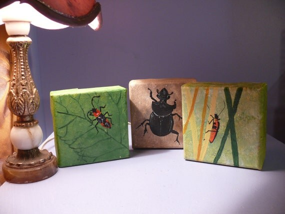 Trio of insects- A trio of original OOAK small canvas paintings