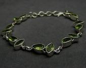 Artisan Handmade 925 Sterling Silver Gemstone Jewelry Green Peridot Unique Bridal Gift Bracelet