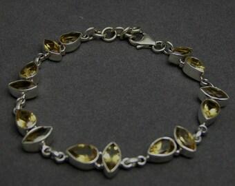 925 Sterling Silver Artisan Handmade Gemstone Jewelry Citrine Yellow Unique Bridal Wedding Anniversary Bracelet