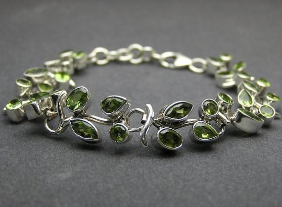 Handmade Artisan Handcrafted   925 Sterling Silver Bridal Bridesmaid Wedding Gift green Peridot  unique Bracelet Bridal jewelry
