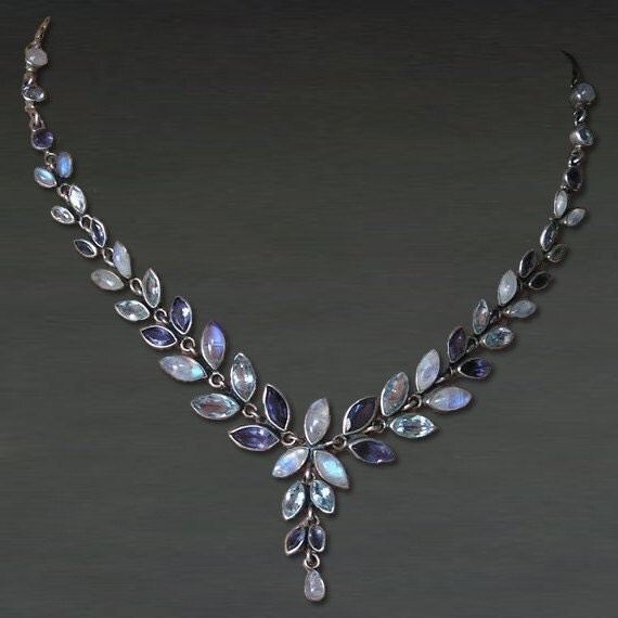 Handmade Artisan Pearl moonstone Purple Amethyst  Blue Topaz Gemstone 925 Sterling Silver Bridesmaid Wedding Gift  Jewelry Necklace (A)
