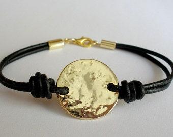 circle bracelet, gold leather bracelet, coin bracelet, gold bracelet, eternity bracelet, leather bracelet ,black gold bracelet
