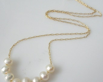 pearl necklace, gold necklace, thin gold necklace, gold pearl necklace, bridal necklace, dainty necklace, layered necklace, bar necklace