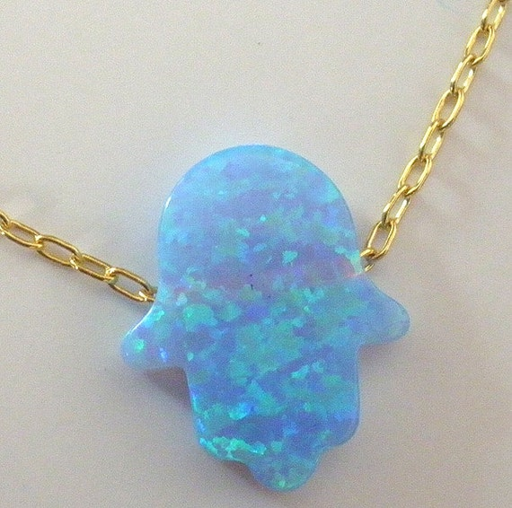 Gold Filled Opal Hamsa Pendant Necklace