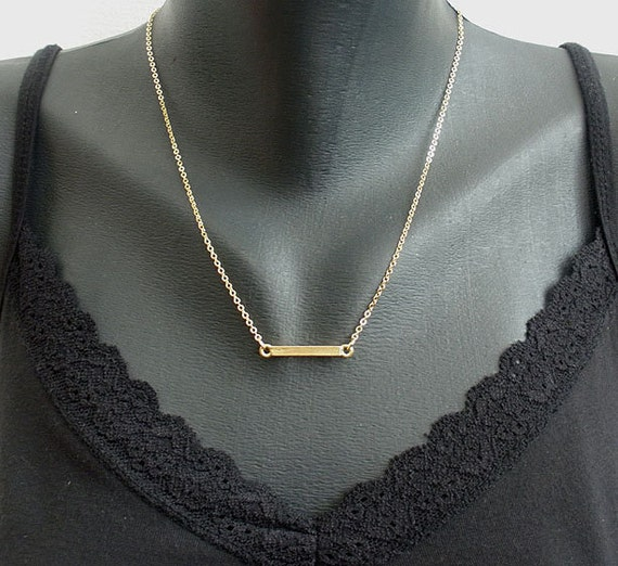 18K Gold rectangle bar simply & modern Necklace