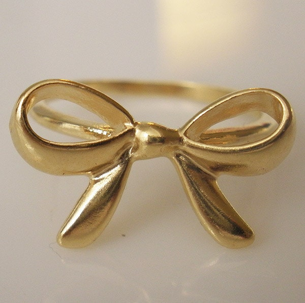 gold bow tie ring ribbon bow knot gold filled size by
