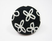 Black white ring, adjustable button ring - large size