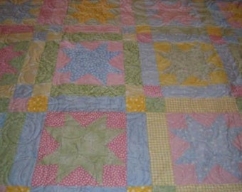 Pastel Star Quilt for Baby or Child