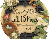 The Secret Garden.....A full 16 piece Etsy Branding shop set, includes business card, 6 avatars, 4 banners, and MORE.....