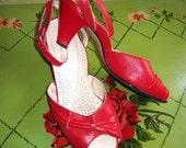 1950s red pinup sandals sling backs