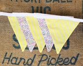 LAST ONE Yellow Stripe and Floral Handmade Good Will Bunting in Small