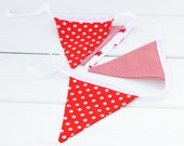 LAST ONE Red and White Handmade Good Will Bunting in Small