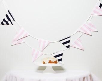Bunting Navy and Pink Fabric Good Will Bunting Varsity