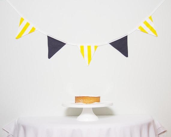 SALE Yellow and Grey Bunting Good Will Bunting Lemon Slate