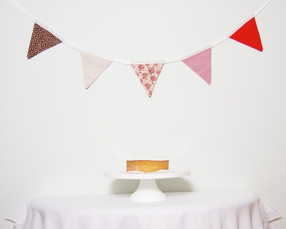 Fabric Bunting Red Brown Floral LAST ONE Good Will Bunting Summer Garden