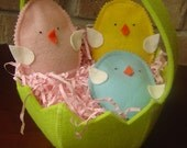 Felt  Basket With Three Sweet Felt Chick Beanbags